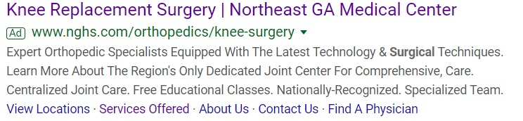 orthopedic search ad focused on brand awareness, not scheduling an appointment right away