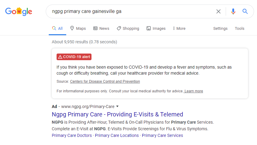 branded paid search ad for telehealth